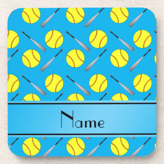 Personalized name sky blue softball pattern drink coaster