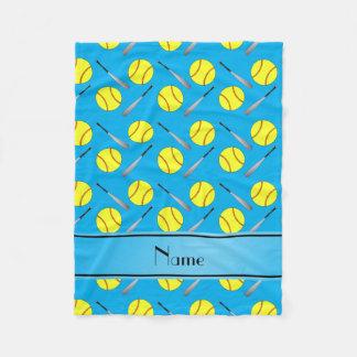 Personalized name sky blue softball pattern fleece blanket