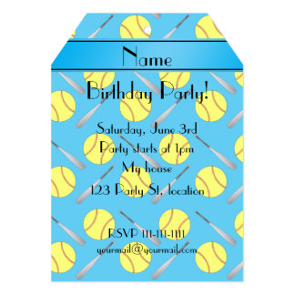 Personalized name sky blue softball pattern 5x7 paper invitation card