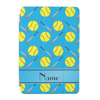 Personalized name sky blue softball pattern iPad mini cover