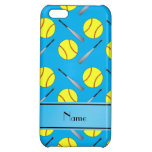 Personalized name sky blue softball pattern iPhone 5C cases