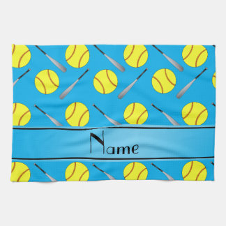 Personalized name sky blue softball pattern kitchen towel
