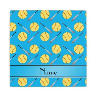 Personalized name sky blue softball pattern wood coaster