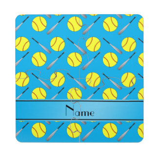 Personalized name sky blue softball pattern puzzle coaster