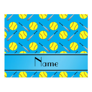 Personalized name sky blue softball pattern postcards