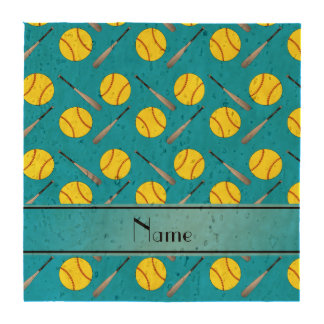 Personalized name sky blue softball pattern drink coasters