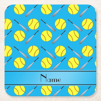 Personalized name sky blue softball pattern square paper coaster