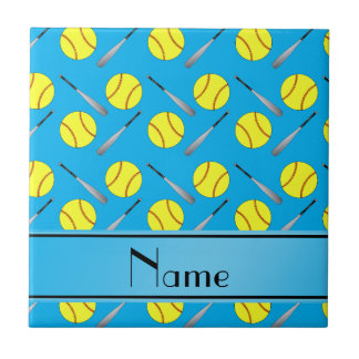 Personalized name sky blue softball pattern tile