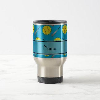 Personalized name sky blue softball pattern travel mug