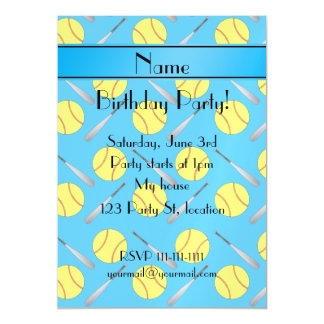 Personalized name sky blue softball pattern magnetic invitations