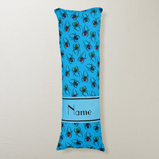 Personalized name sky blue spiders body pillow