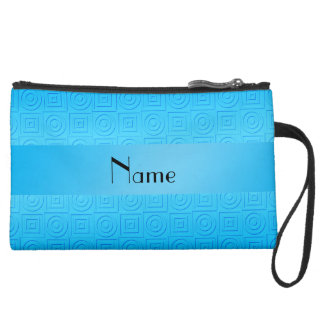 Personalized name sky blue squares circles wristlets