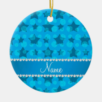Personalized name sky blue stars volleyballs ceramic ornament