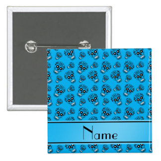 Personalized name sky blue sugar skulls 2 inch square button