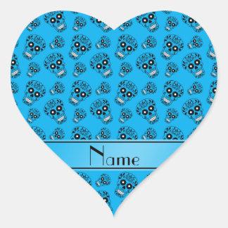 Personalized name sky blue sugar skulls heart sticker