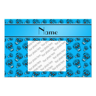 Personalized name sky blue sugar skulls photo