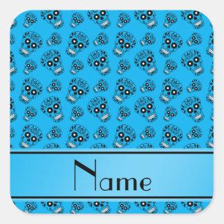 Personalized name sky blue sugar skulls square sticker