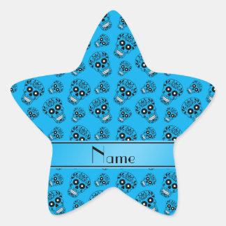 Personalized name sky blue sugar skulls star sticker