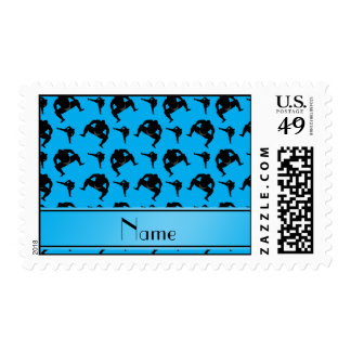 Personalized name sky blue sumo wrestling postage