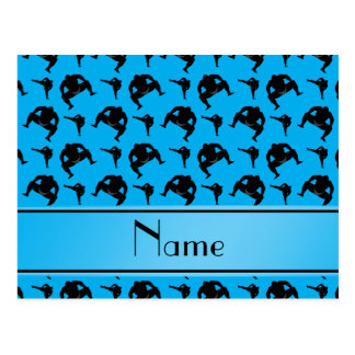 Personalized name sky blue sumo wrestling postcard