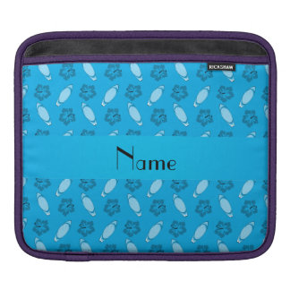 Personalized name sky blue surfboard pattern iPad sleeve