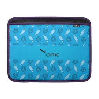 Personalized name sky blue surfboard pattern MacBook sleeve