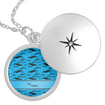 Personalized name sky blue swimming pattern silver plated necklace