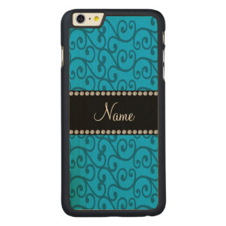 Personalized name sky blue swirls carved® maple iPhone 6 plus slim case