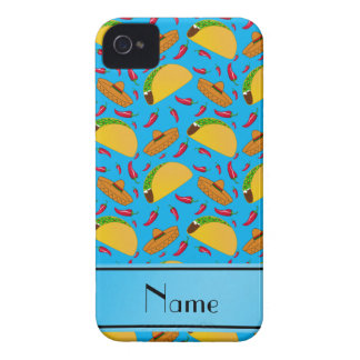 Personalized name sky blue tacos sombreros chilis iPhone 4 covers