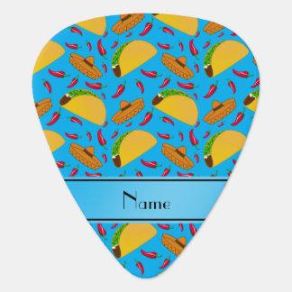 Personalized name sky blue tacos sombreros chilis guitar pick