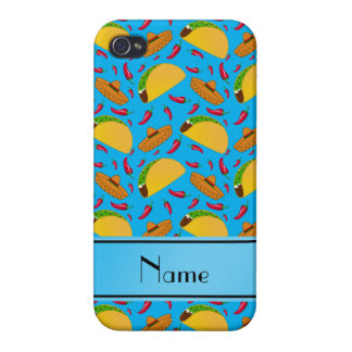 Personalized name sky blue tacos sombreros chilis cover for iPhone 4