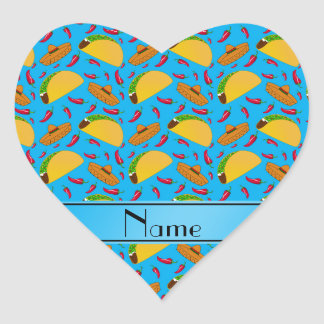 Personalized name sky blue tacos sombreros chilis heart sticker