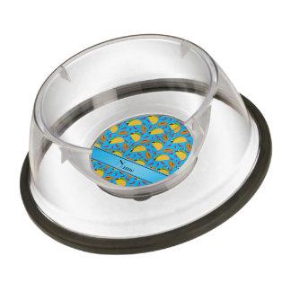 Personalized name sky blue tacos sombreros chilis pet bowl