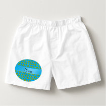 Personalized name sky blue tennis balls pattern boxers