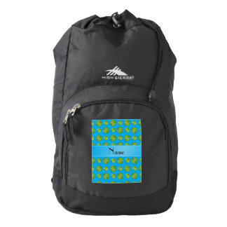 Personalized name sky blue tennis balls pattern backpack