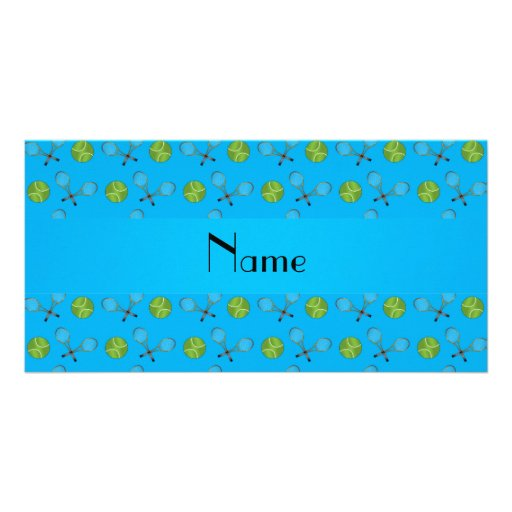 Personalized name sky blue tennis balls photo greeting card