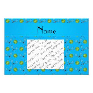 Personalized name sky blue tennis balls art photo