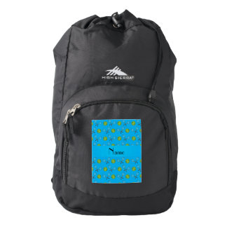Personalized name sky blue tennis balls rackets backpack