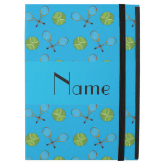 """Personalized name sky blue tennis balls rackets iPad pro 12.9"""" case"""