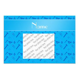 Personalized name sky blue tools pattern photo print