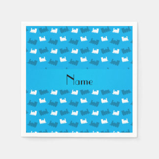 Personalized name sky blue train pattern paper napkin