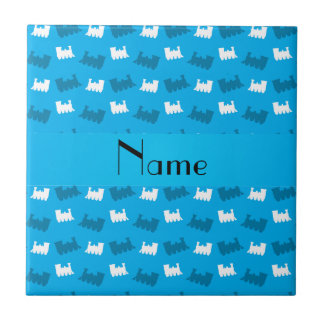 Personalized name sky blue train pattern tile
