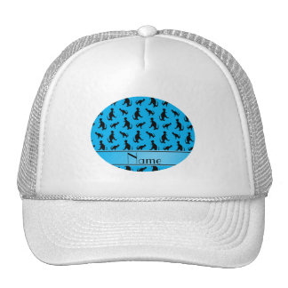Personalized name sky blue trex dinosaurs trucker hat
