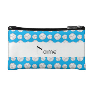 Personalized name sky blue volleyball balls makeup bag