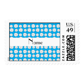 Personalized name sky blue volleyball balls postage stamp