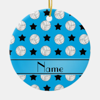 Personalized name sky blue volleyball black stars ceramic ornament