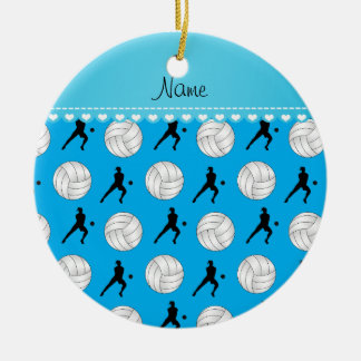 Personalized name sky blue volleyballs silhouettes ceramic ornament