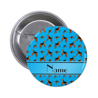 Personalized name sky blue Welsh Terrier dogs 2 Inch Round Button