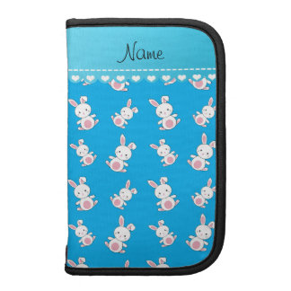 Personalized name sky blue white bunnies planner