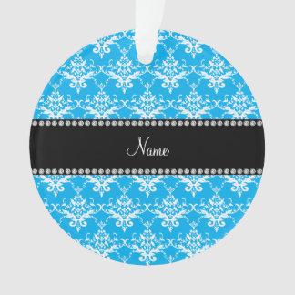 Personalized name sky blue white damask
